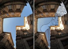 In an ongoing series entitled Sky Art, Thomas Lamadieu takes photos of buildings and then uses the sky as his canvas for his illustrations. Creative Illustration, Photo Illustration, Art Illustrations, Photography Illustration, Ciel Art, Photo Ciel, Funny Sketches, Art Thomas, Sky Art