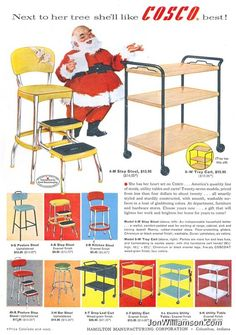 Cosco stepstool and kitchen cart vintage Christmas ad with Santa * For free Christmas toys Arielle Gabriels The International Society of Paper Dolls also ...  sc 1 st  Pinterest & 1950s Atomic Kitchen Vintage Costco Stylaire Step Stool Chair ... islam-shia.org