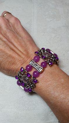 Purple Jade Silver Slider Beaded Cuff Bracelet Handmade - ONE of a kind by GladdenRun on Etsy