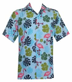 Hawaiian Shirts Mens Flamingo Leaf Print Beach Aloha Party Aqua Blue #Alvish #Hawaiian shirt #Aloha shirts # flamingo printed shirt