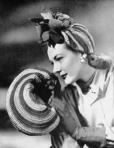 1940s Color Wheel Vintage Crochet Hat and Bag by cemetarian, $3.50