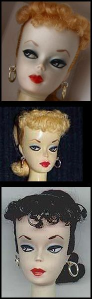 The very rare #1 and #2 Ponytail Vintage Barbie Doll made in 1959.  They had more pronounced features and solid bodies.  #1 had metal rods in her legs with holes in her feet to accommodate her stand.