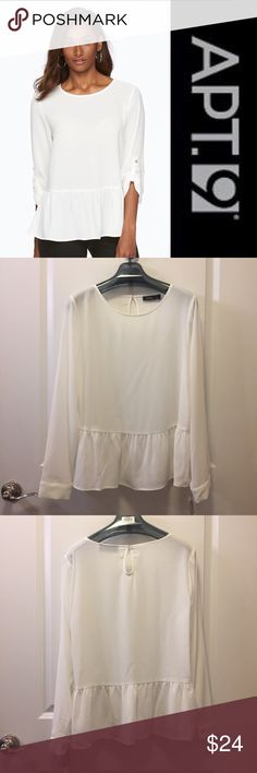 shirred peplum long sleeve top Brand new with tags! ☁️✉️⚪️Apt. 9 long sleeve shirred crepe peplum blouse. Flattering silhouette and lovely white crepe textured fabric. Gold buttons on cuffs (they don't roll - just full length) and keyhole opening in back. 97% polyester 3% spandex. Bundles are only two items!. Check out my closet for more L/XL and 14/16 clothing. Bundle and make an even better deal for yourself Apt. 9 Tops Blouses