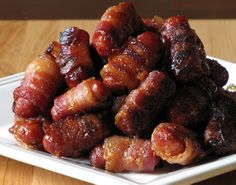 Bacon-Wrapped Li'l Smokies. Football food. For my manly roommates who love meat on top of meat on top of more meat.