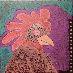 The Little Red Rooster. 6 inch by 6 inch plywood tile.