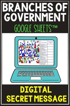 Have some digital fun with this Branches of Government Secret Message Activity for Google Sheets™. Students will read a non-fiction passage and answer questions. Correct answers will begin to reveal the secret message! Great self-checking reading comprehension activity for distance learning or computer day. #Constitution #Branchesof Government #USHistory #HomeSchool #Digital #4thgrade #5thgrade #6thgrade #Interactive #MiddleSchool #UpperElementary