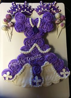 Sofia the first 1st pull apart cupcake cake with cake pops and crown sugar cookies  girl birthday