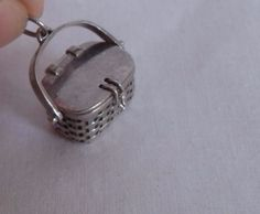 Brown County Sterling Purse Basket charm, top opens, RARE, excellent condition #BrownCountyBaskets