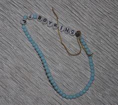 """Vintage Baby ID Hospital Bracelet """"Boykins"""" Blue Milk Glass  Original beads for making doll bracelets"""