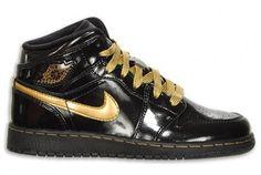 Air Jordan Retro 1 GS Black Patent Metallic Gold Available Now on http://www.kixandthecity.com/air-jordan-retro-1-gs-black-patent-metallic-gold-available-now/