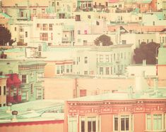 San Francisco Photography, pastel houses, peach and mint, travel photograph by ScarlettElla  via Etsy. #fpoe