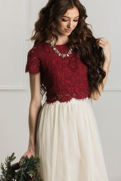 Burgundy Lace Crop Top Shop the Ellie Burgundy Lace Crop Top - boutique clothing featuring fresh, feminine and affordable styles.Shop the Ellie Burgundy Lace Crop Top - boutique clothing featuring fresh, feminine and affordable styles. Cropped Tops, Lace Crop Tops, Stylish Dresses, Fashion Dresses, Emo Fashion, Paris Fashion, Lace Top Outfits, Bridesmaid Separates, Indian Gowns Dresses
