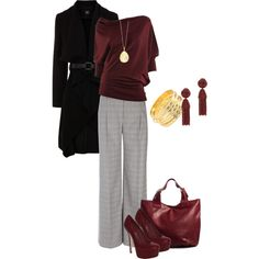 A fashion look from December 2012 featuring red shirt, drape coat and wide-leg pants. Browse and shop related looks.