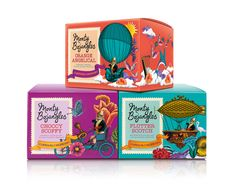 Monty Bojangels is a range of chocolate truffles that was recently redesigned by Springetts Brand Design Consultants. The packaging features an anthropomorphic cat named Monty who is depicted in Victorian era clothes (monocle and all), as he travels around in hot air balloons and other fanciful forms of transportation.