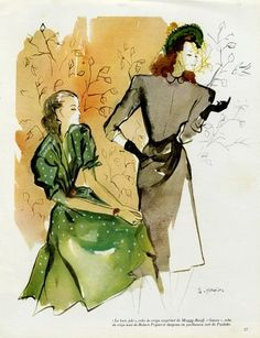 Goujon 1945 Maggy Rouff & Piguet Fashion Illustration