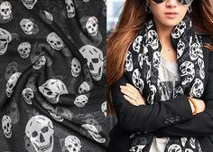 Silk Chiffon Fabric Silk Scarf Skull Fabric -Mulberry Silk Chiffon Skull Cloth 55x18 Inches