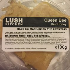 LUSH Queen Bee Hair Honey - RARE Not available in stores in the USA yet, currently SOLD OUT on LUSH UK's website. This rare LUSH hair styling product smells of honey and moringa. A very large chunk with only a tiny bit missing as it was only used only a couple of times. Rare. I've put it into a plastic container myself because it came wrapped in paper. Very sanitary and fresh. Lush Other