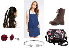 White printed shirt, denim dress, red rose earrings, brown combat boots, silver bracelet, white hair ribbon, floral bag