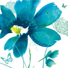 Blue Dawn I Canvas Wall Art by Masterpiece Art Gallery offers a botanical collage of flowers and butterflies rendered in a beautiful teal hue. A cool toned print for your modern decor sense, this piece is graphic, bold, and will command attention.