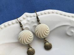 Beachcombing  Off White Matte Vintage Glass Button Earrings