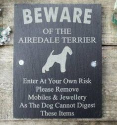 "Airedale Terrier Beware of dog sign. ""Beware of the Airedale Terrier. Enter at your own risk. Please remove mobiles and jewelry as the dog cannot digest these items."""