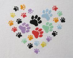 Paw print heart cross stitch pattern modern gift for dog Dog Lover Gifts, Dog Gifts, Cross Stitch Designs, Cross Stitch Patterns, Loom Patterns, Cross Stitching, Cross Stitch Embroidery, Bordados E Cia, Cross Stitch Heart