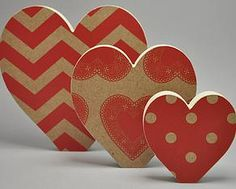 Handcrafted Wood Three Piece Heart set.    Handmade in New Zealand by Miss Molly