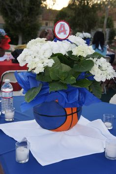 Re-purposed used basketball - cut to create centerpiece