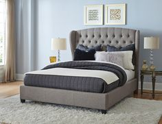 Classic design meets sophisticated charm in the Bromley bed. Upholstered in a Orly Grey fabric with button tufting. A beautiful addition to any bedroom.