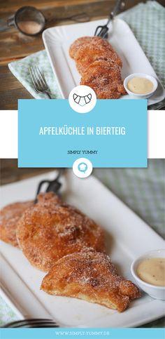 Apfelringe knusprig gebacken in einem Bierteig - hier findet ihr das Rezept! #apfelküchle #bierteig #knusprig #gebacken #lecker #nachtisch #dessert #kleingebäck #backen