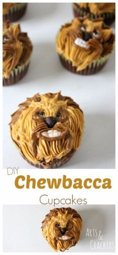 DIY Star Wars Chewbacca Cupcakes - Star Wars Cookie - Ideas of Star Wars Cookie - Impress your fellow Star Wars lovers with these DIY Chewbacca Cupcakes. This simple Star Wars Cupcakes Tutorial makes it easy to bring Chewbacca to your Star Wars party. Star Wars Cupcakes, Star Wars Cake, Cupcake Wars, Star Wars Party, Star Wars Birthday, Birthday Star, Birthday Party Desserts, Birthday Cupcakes, Birthday Recipes