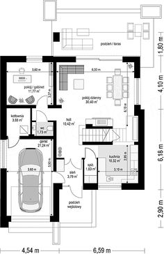 Projekt domu Oszust 2 136,4 m2 - koszt budowy 210 tys. zł - EXTRADOM Dream House Exterior, Dream House Plans, House Floor Plans, Morden House, One Storey House, Lobby Design, Civil Engineering, Furniture Plans, Exterior Design