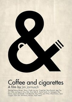 "Thought this was a cool little illustration for the movie. You can clearly see ""coffee and cigarettes"" in the picture. This is kind of what we are studying right now in class. counter space is used to make a good description of what the buisness probably is."