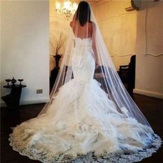 2015 New White Tulle Cathedral Wedding Veils 300 CM Ivory Lace Wedding Accessories Long Bridal Veil Custom Velos De Novia ** Offer can be found by clicking the VISIT button