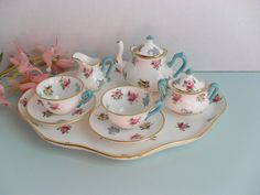 Miniature Crown Staffordshire Tea Set for Dolls or Display