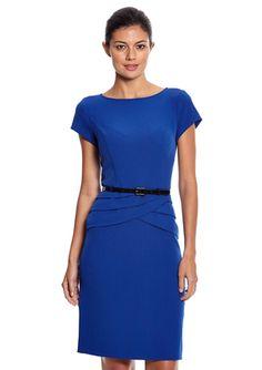 On ideel: EVAN PICONE Short Sleeve Belted Waist Detail Dress