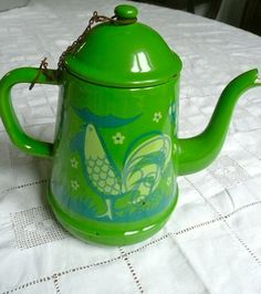 #confettimagspring - Everyone would drink there coffee from - Vintage French Enamelware Green Enamel Coffee Pot Cockerel 1960s