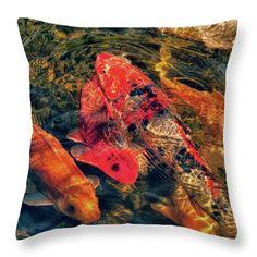 Koi Fish Fresco One Throw Pillow
