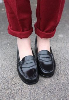 black penny loafers
