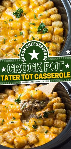 This Sunday dinner idea is a slow cooker twist on the classic! There are no canned soups in this Crock Pot Tater Tot Casserole recipe. So creamy and cheesy, it is comfort food made easy. The best part? You can prepare a large amount and enjoy some for leftovers! Easy Casserole Recipes, Soup Recipes, Dinner Recipes, Yummy Recipes, Cheeseburger Tater Tot Casserole, Best Crockpot Recipes, Best Casseroles, Easy Family Dinners, Crock Pot