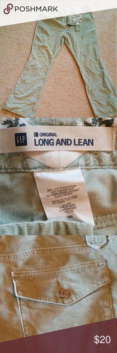 Mint green Gap corduroy pants Gap original long and lean style mint green corduroy pants. In excellent condition. GAP Pants Boot Cut & Flare