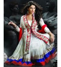 Lovely White and Red Designer Suit (Readymade)