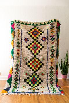 Big, bold vintage berber carpet from the azilal region of Morocco. #boucherite #cococarpets