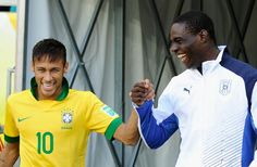 Neymar  Balotelli sharing a laugh