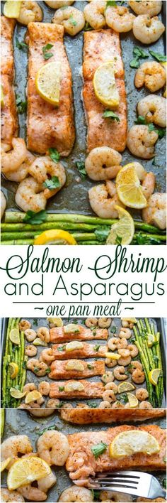 Baked one pan meal with salmon, shrimp and asparagus. ValentinasCorner.com: