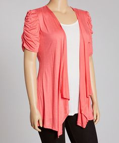 Take a look at this Coral Crochet-Back Ruched Open Cardigan - Plus by Annabelle on #zulily today!