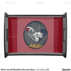 Silver Laced Wyandotte Rooster Barn Boards  Dots Serving Trays