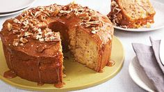 This dessert recipe for moist, tender apple cake begins with Betty Crocker® cinnamon streusel muffin mix and ends with caramel topping and crunchy pecans!