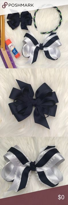 """Made to Order Handmade Hair Bows and Headband Made to order in colors of your choice. This set includes: one 3"""" bow, one 5"""" bow, and one woven ribbon headband. Great for everyday or for school, for example these are my daughter's school uniform colors.                                                                                     🎀Price Is Firm, No Offers On This One Please🎀 Accessories Hair Accessories"""