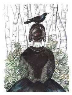 Bronte in New Zealand archival giclee print on German Hahnemuhle bamboo matte paper print measures 11 inches X 14 inches hand signed, titled, and numbered edition 75 Diana Sudyka Diana, Illustrations, Illustration Art, Emily Brontë, Crows Ravens, Pretty Pictures, Art Images, New Zealand, Giclee Print